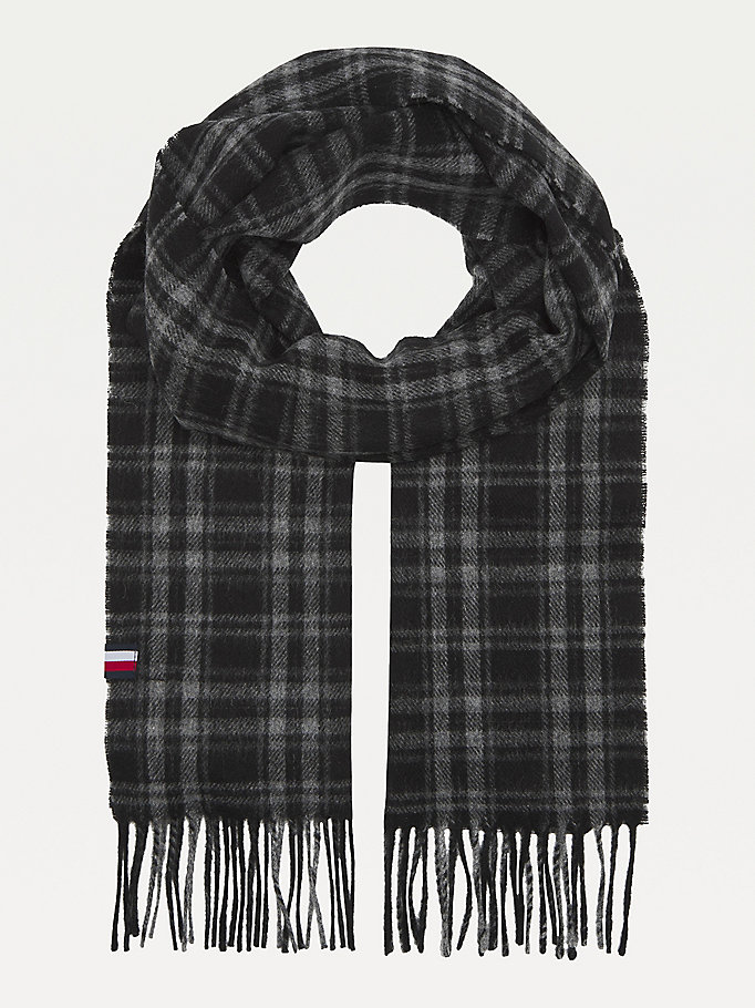 black pure wool check scarf for men tommy hilfiger