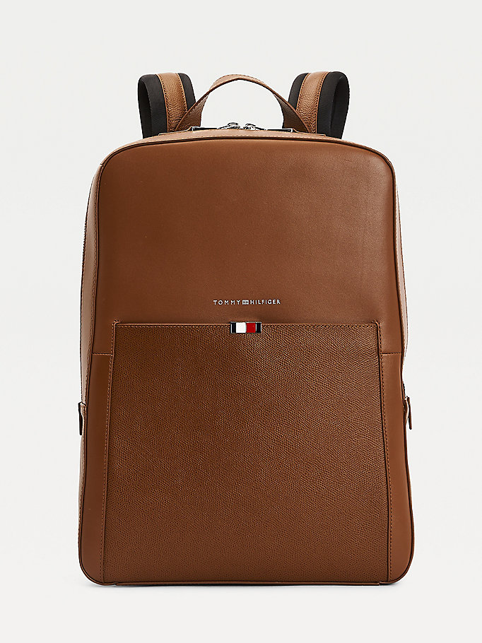 brown th business leather backpack for men tommy hilfiger