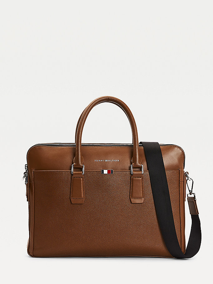 brown th business leather slim laptop bag for men tommy hilfiger