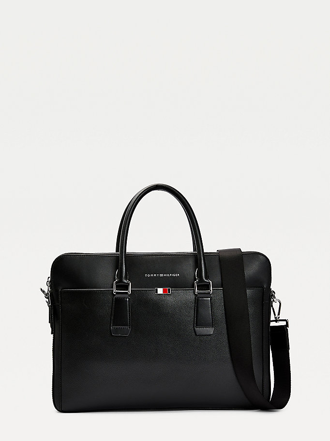 black th business leather slim laptop bag for men tommy hilfiger