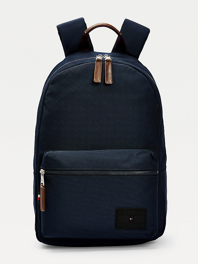 blue logo patch backpack for men tommy hilfiger