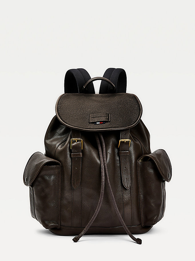 brown casual leather flap backpack for men tommy hilfiger