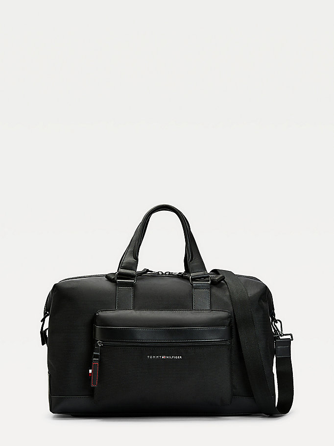 black nylon weekender bag for men tommy hilfiger