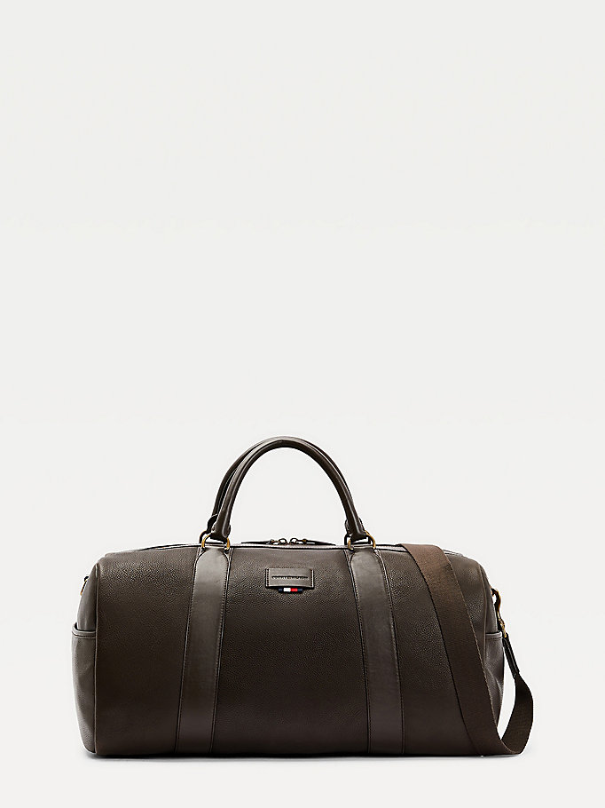 brown casual leather duffle bag for men tommy hilfiger
