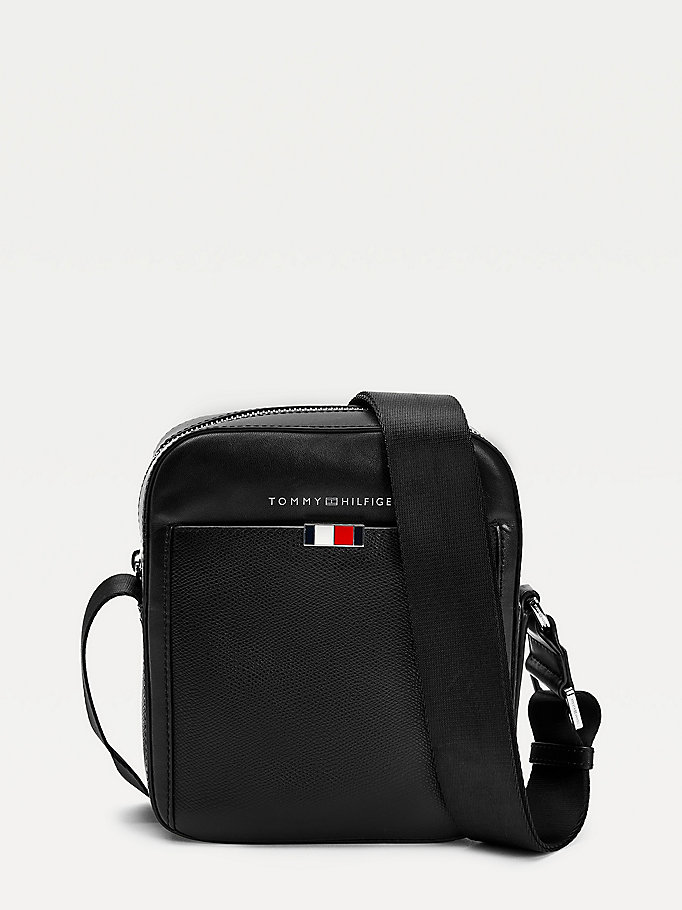 black small business leather reporter bag for men tommy hilfiger