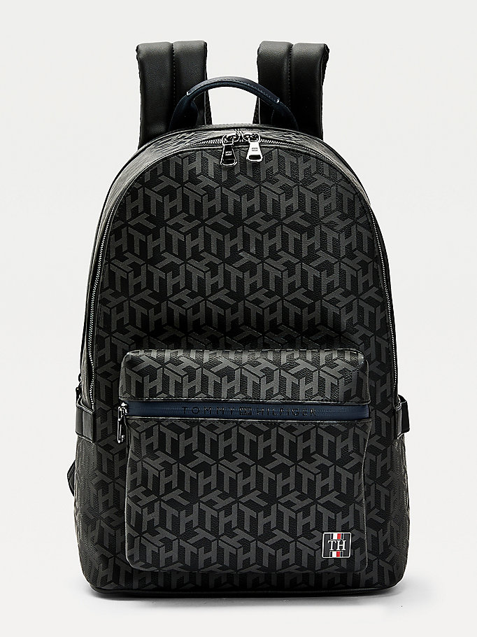 black th monogram backpack for men tommy hilfiger