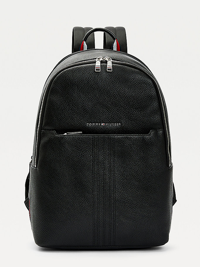 black downtown logo backpack for men tommy hilfiger