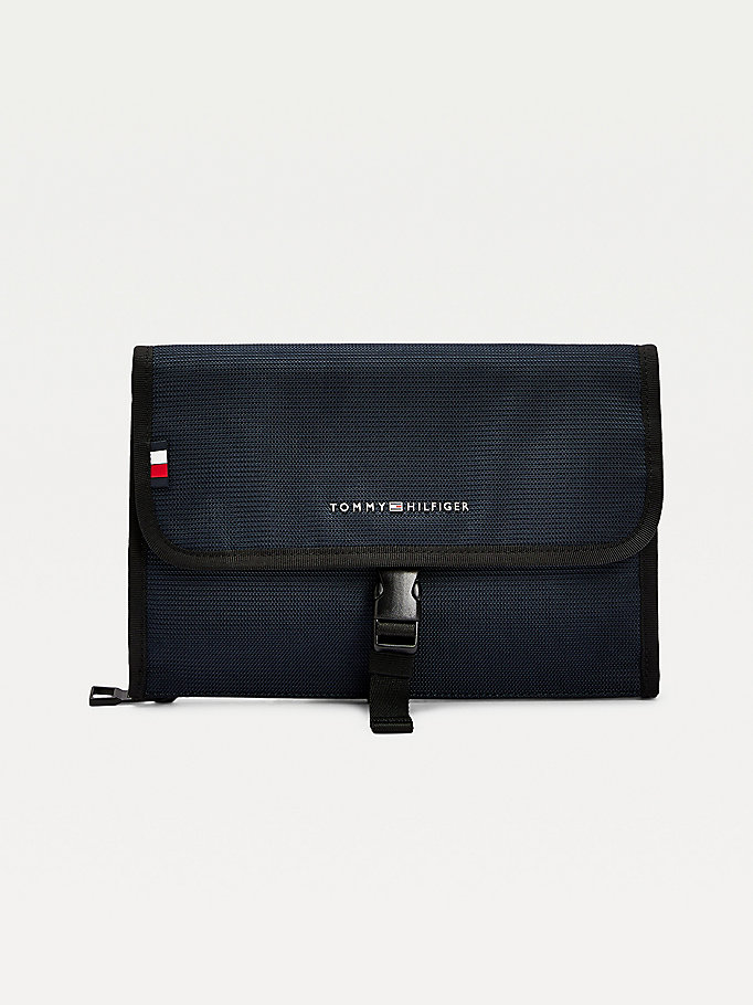 blue roll out travel washbag for men tommy hilfiger