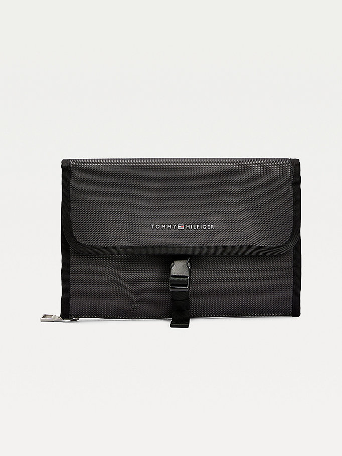 grey roll out travel washbag for men tommy hilfiger