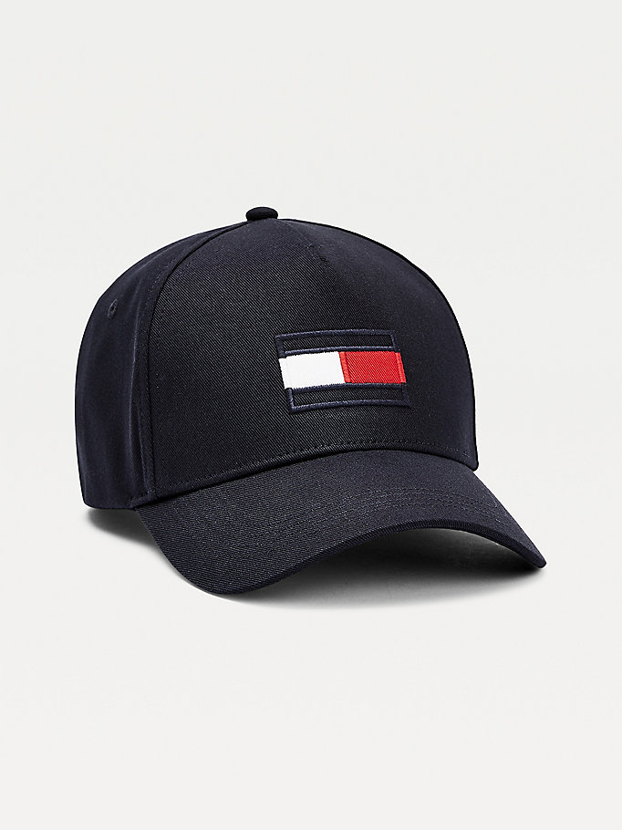 blue organic cotton big flag baseball cap for men tommy hilfiger