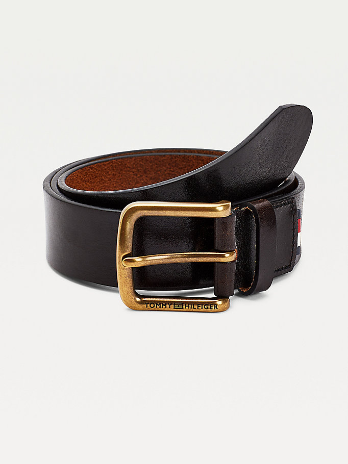 brown brass buckle leather belt for men tommy hilfiger