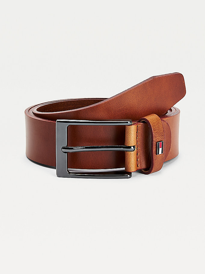 brown adjustable metal buckle leather belt for men tommy hilfiger