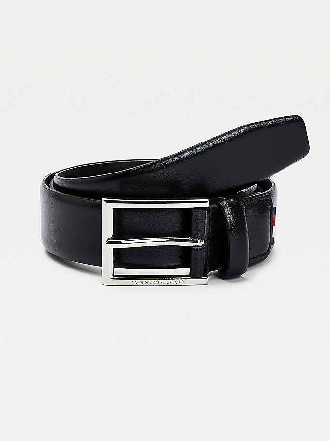 black engraved buckle formal leather belt for men tommy hilfiger