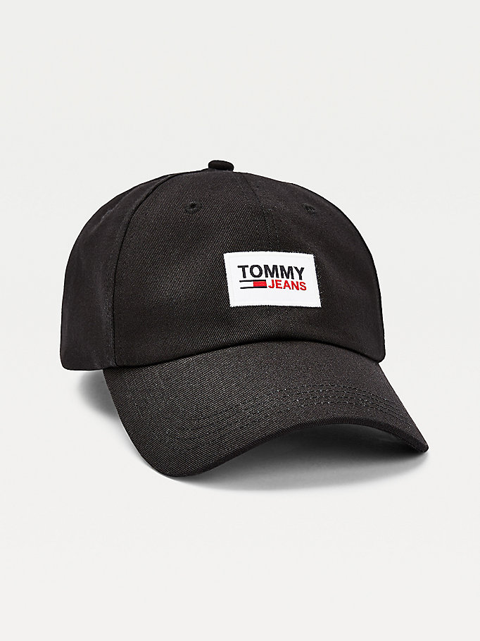 black organic cotton logo patch baseball cap for men tommy jeans