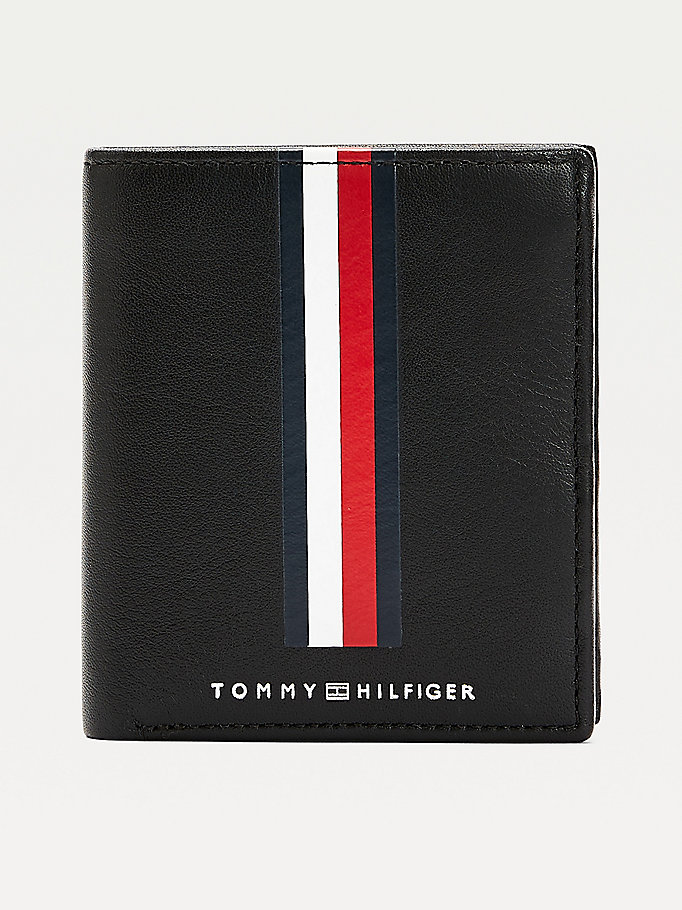 black metro tri-fold small leather wallet for men tommy hilfiger