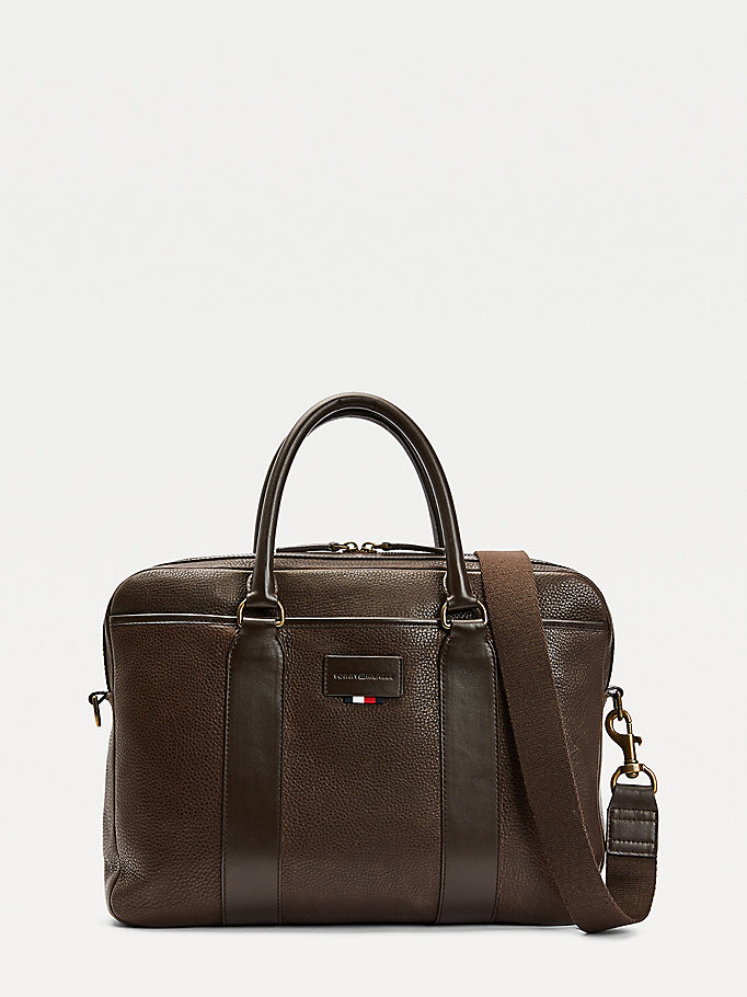 brown casual leather slim laptop bag for men tommy hilfiger