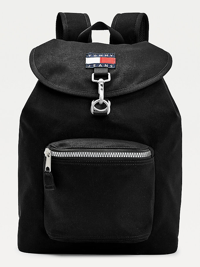 black flap closure backpack for men tommy jeans