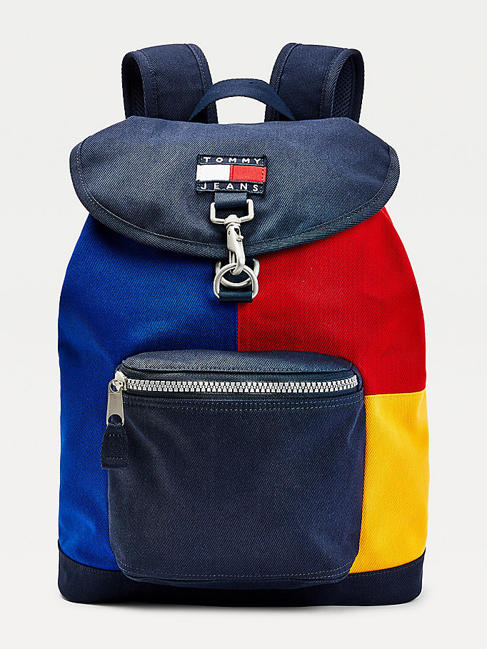 blue flap closure backpack for men tommy jeans