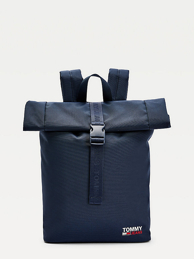 blue campus roll-top backpack for men tommy jeans