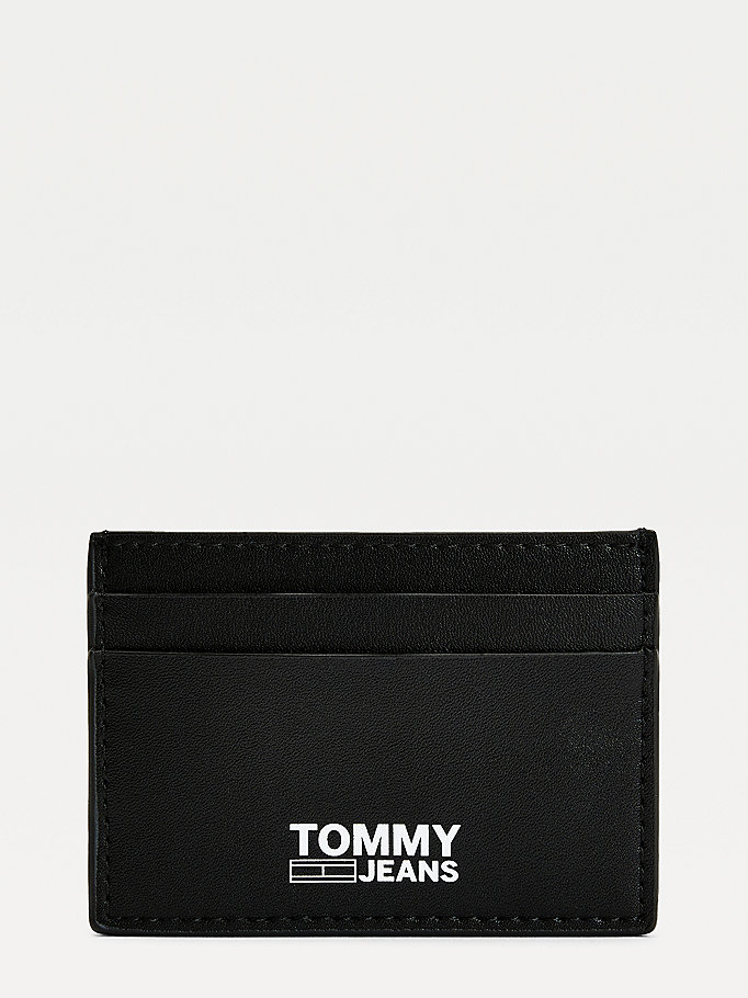 black essential recycled leather card holder for men tommy jeans