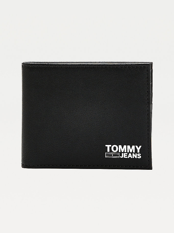 black essential tommy jeans leather bifold wallet for men tommy jeans