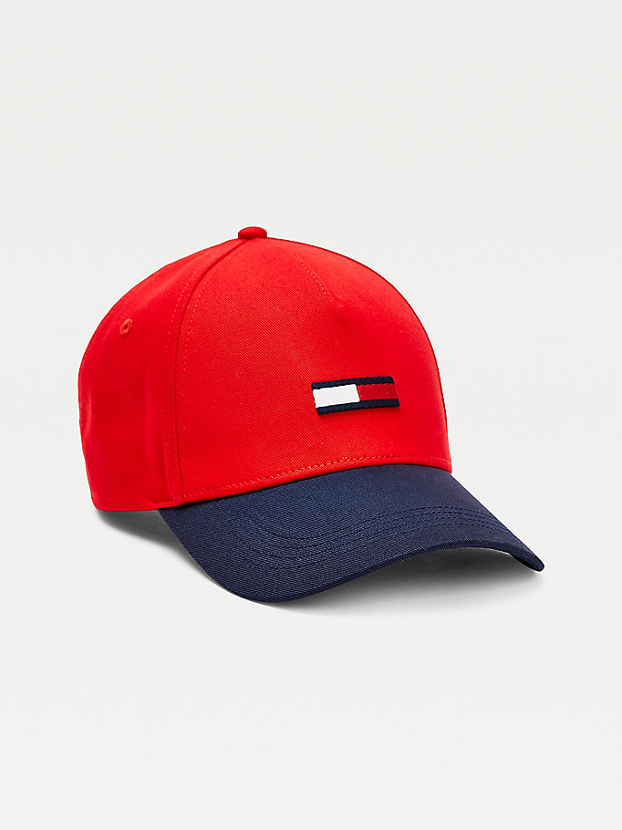 red organic cotton flag baseball cap for men tommy jeans