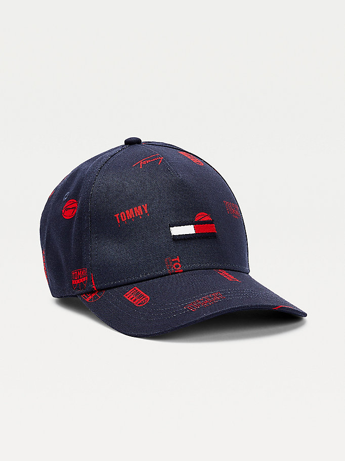 blue organic cotton logo print cap for men tommy jeans