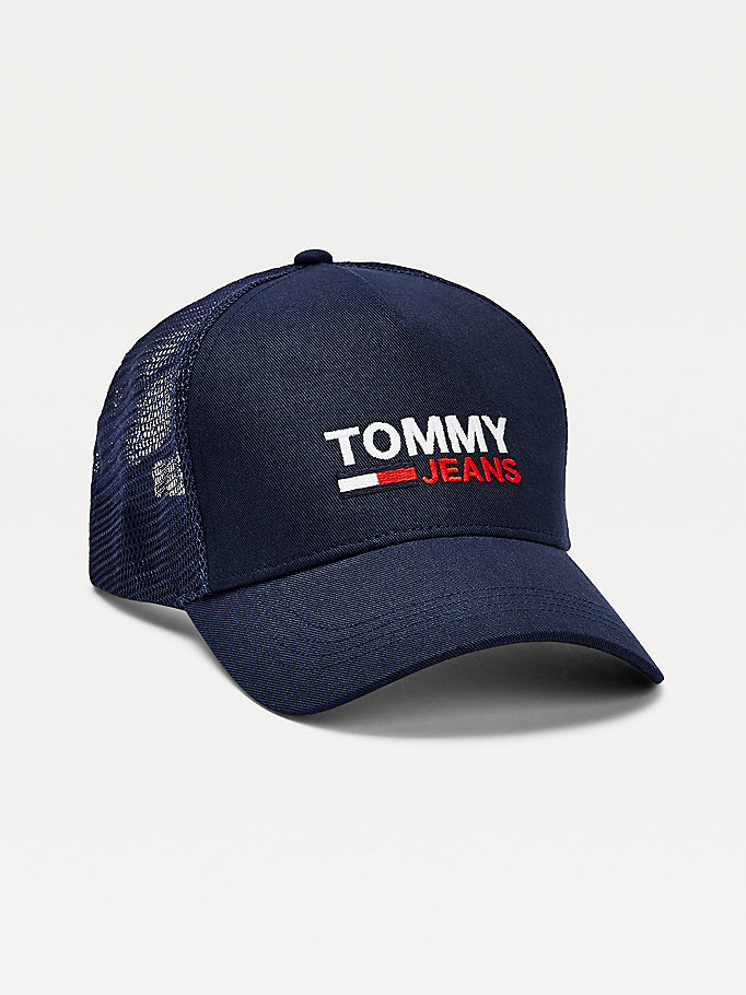 blue logo trucker hat for men tommy jeans