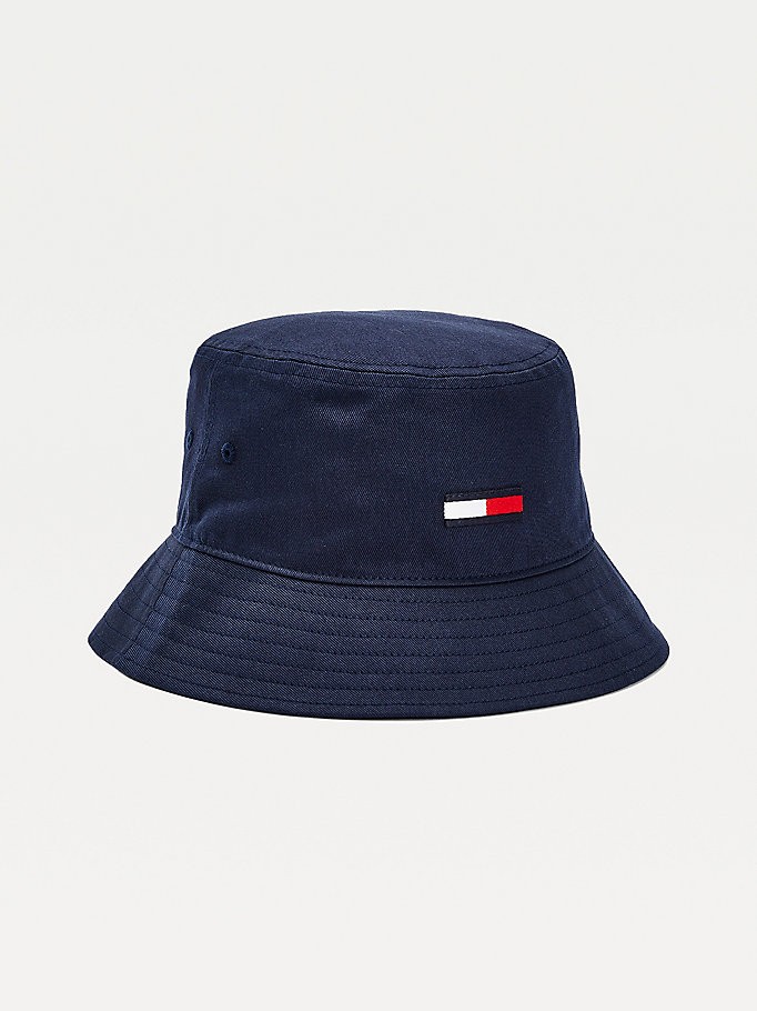 blue organic cotton flag bucket hat for men tommy jeans