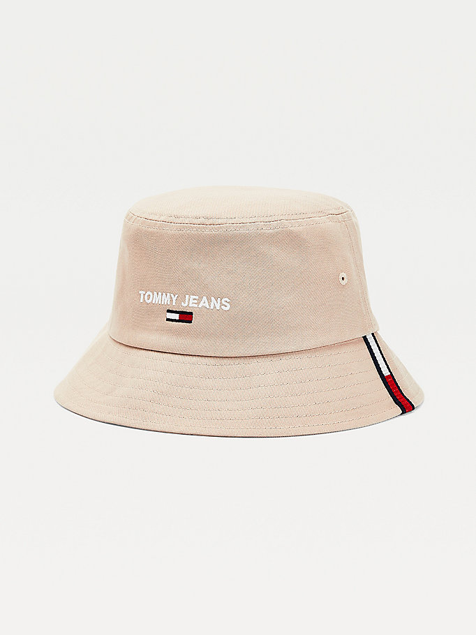 beige organic cotton bucket hat for men tommy jeans