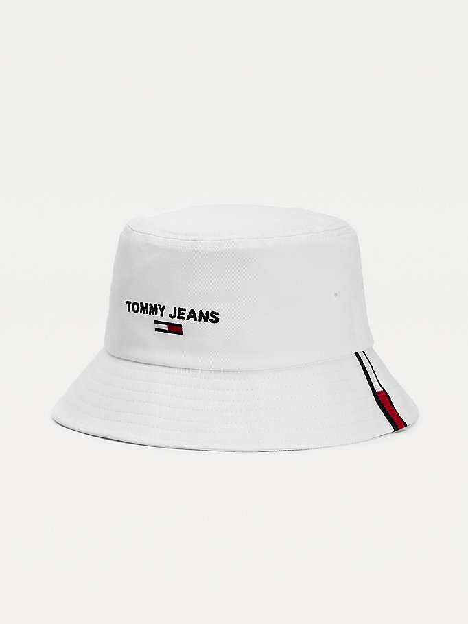 white organic cotton bucket hat for men tommy jeans