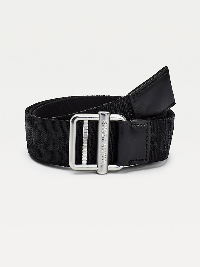 black essential tonal logo webbing belt for men tommy jeans