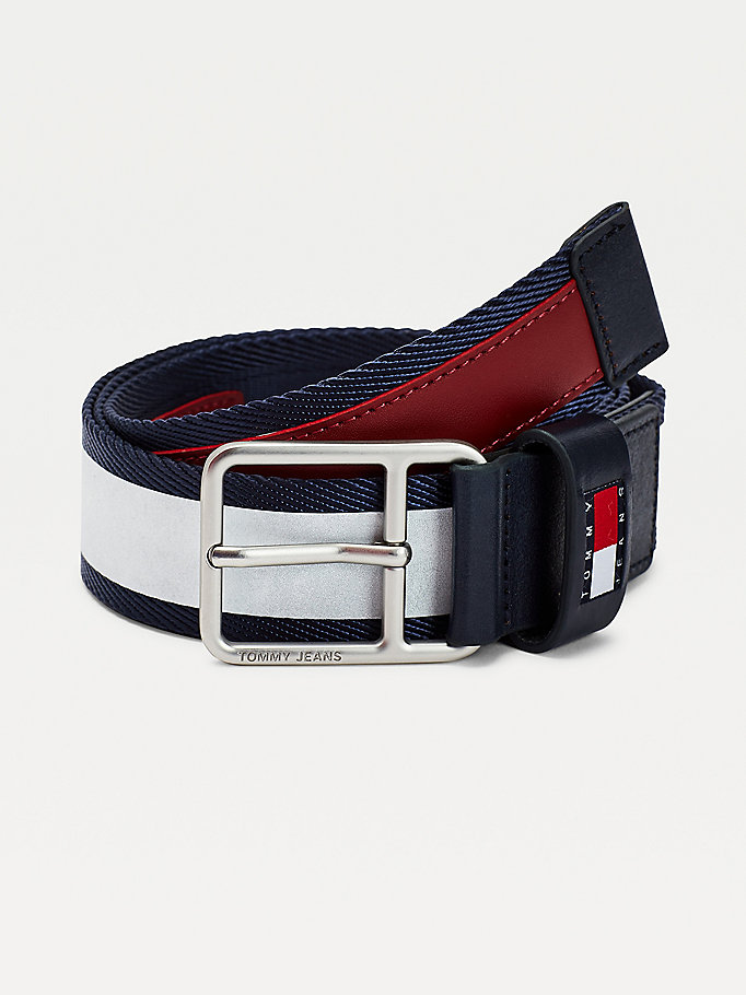 blue webbing belt for men tommy jeans