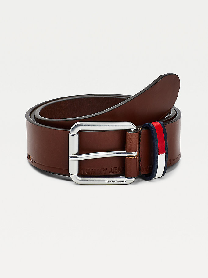 brown casual leather belt for men tommy jeans