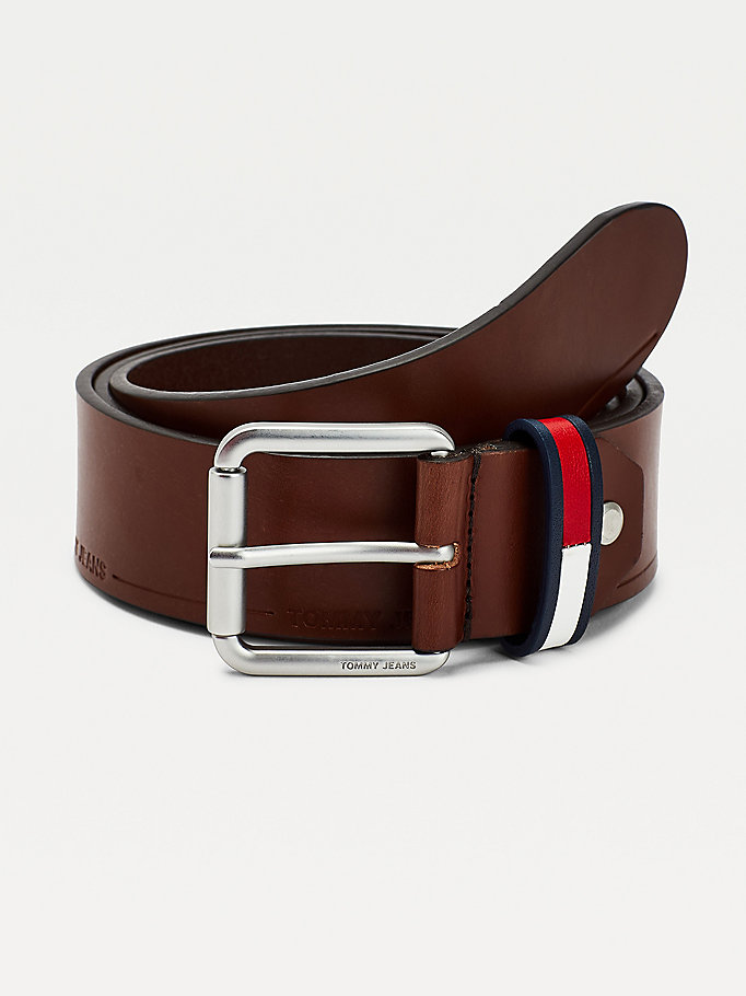 brown casual leather wide belt for men tommy jeans