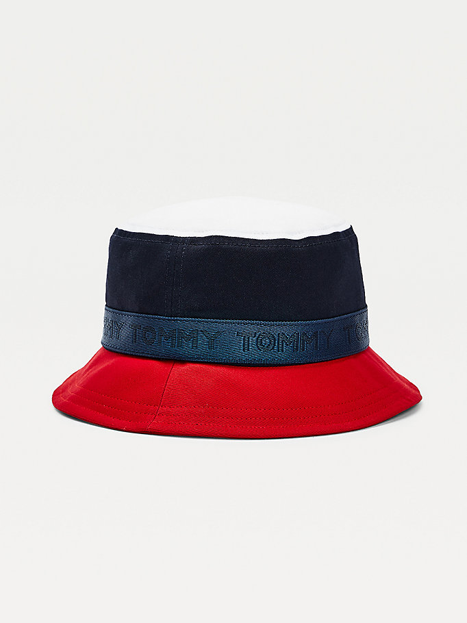 blue kids' signature organic cotton bucket hat for boys tommy hilfiger