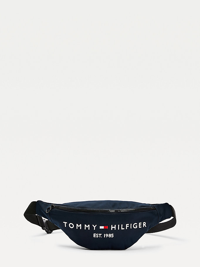 marsupio th established con logo blu da uomo tommy hilfiger
