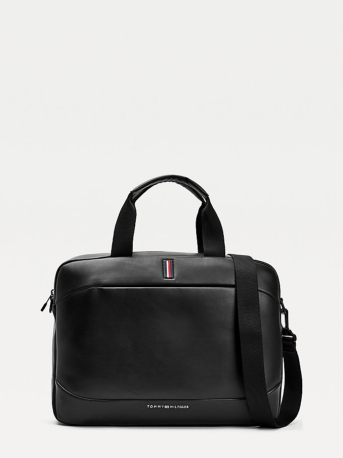 black metro slim computer bag for men tommy hilfiger