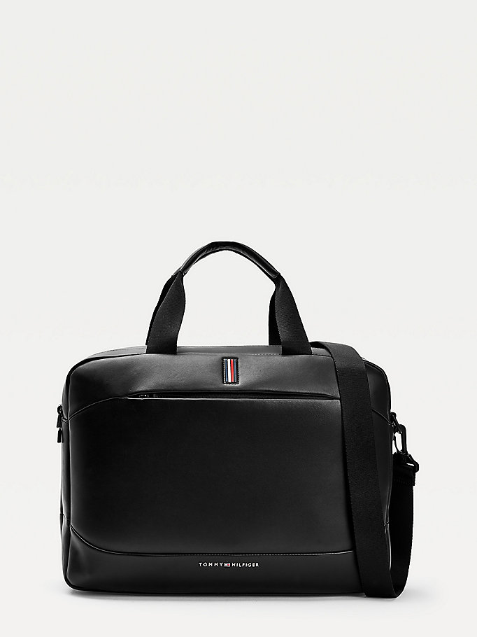 black metro weekend computer bag for men tommy hilfiger