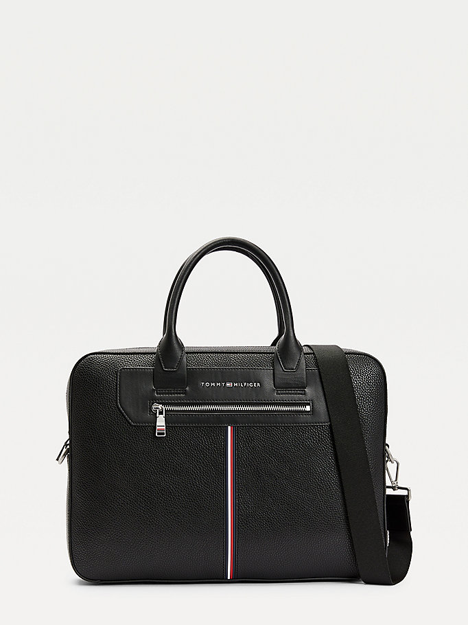 black downtown slim pebble grain computer bag for men tommy hilfiger