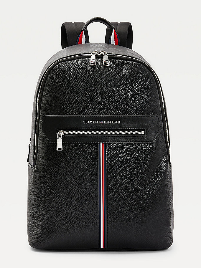 black downtown signature tape detail backpack for men tommy hilfiger