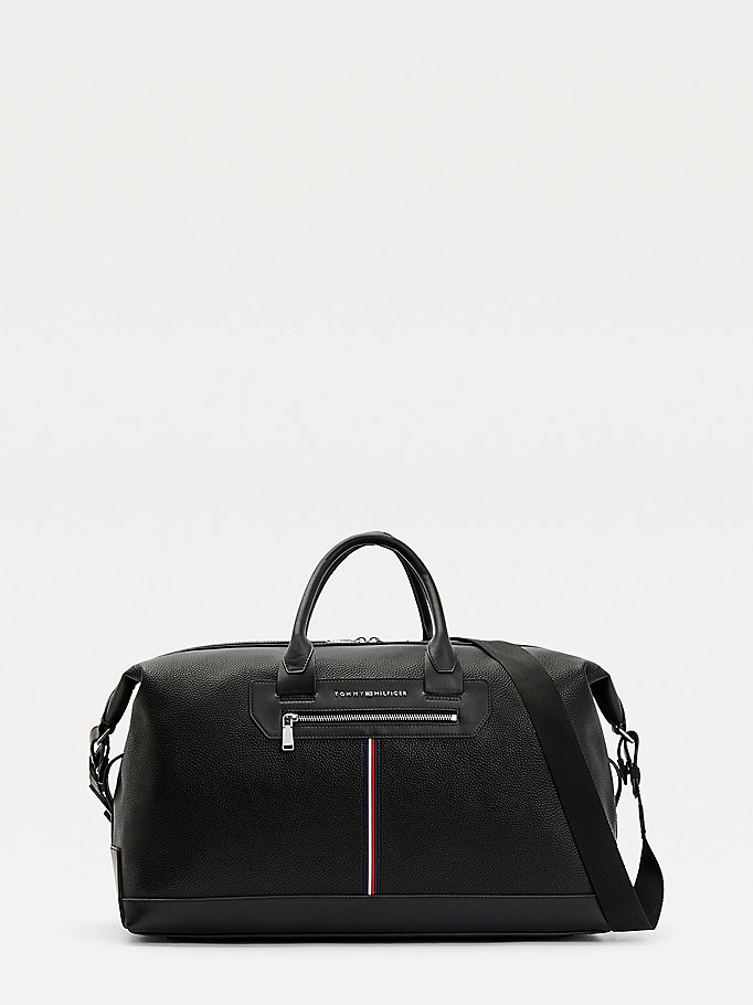 black downtown signature detail duffle bag for men tommy hilfiger