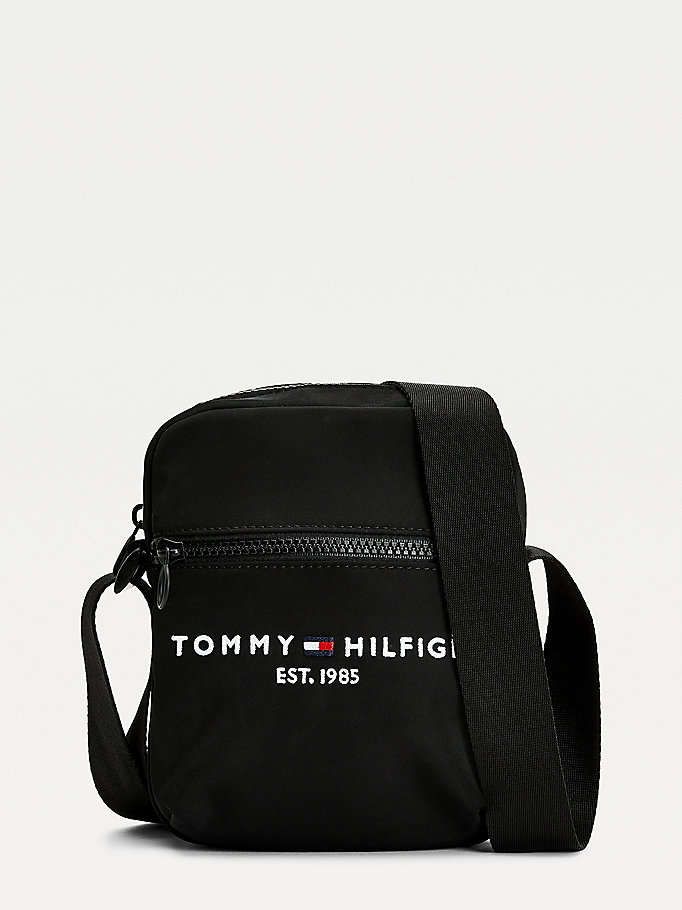 black th established small reporter bag for men tommy hilfiger