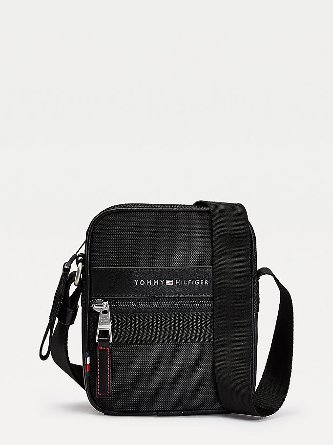 black small textured finish reporter bag for men tommy hilfiger