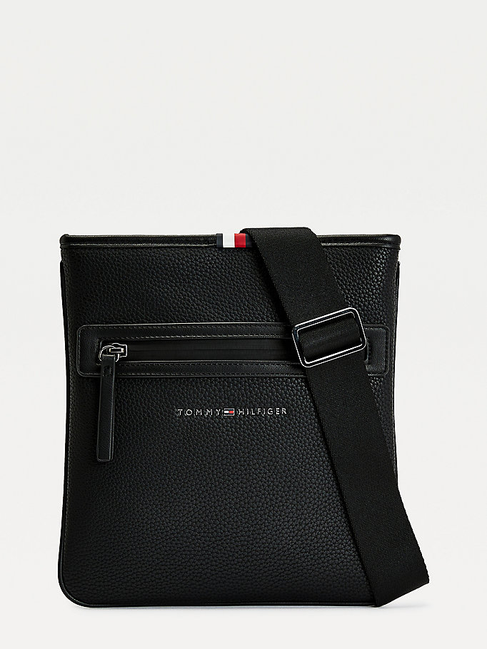 black essential crossover bag for men tommy hilfiger