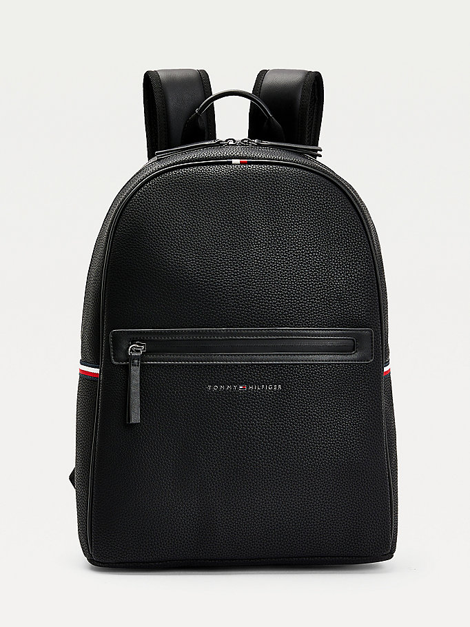 black essential pebble grain backpack for men tommy hilfiger