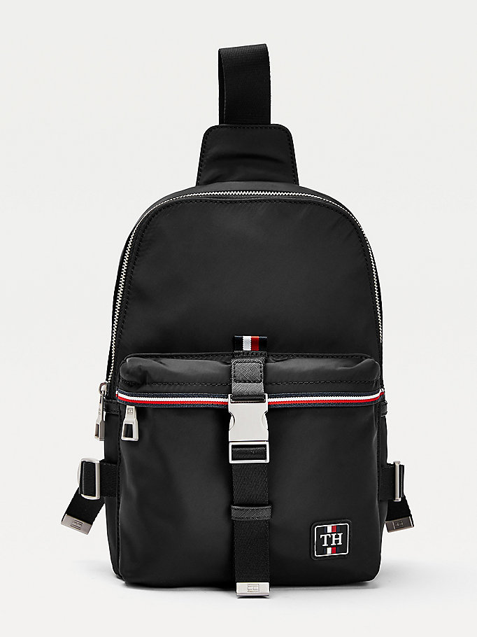 black urban monogram patch slingpack for men tommy hilfiger