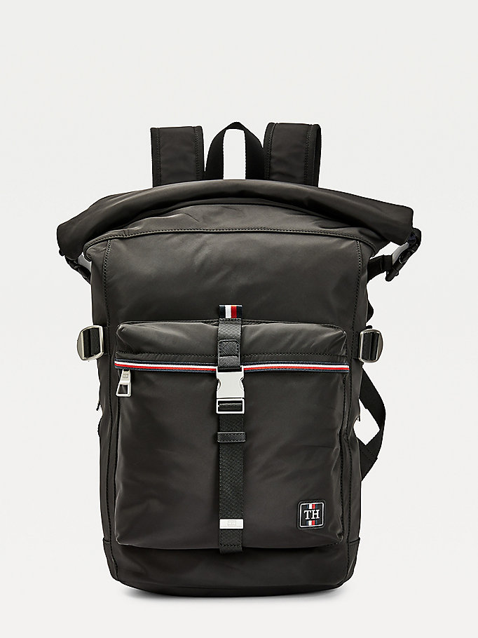 black urban rolltop backpack for men tommy hilfiger