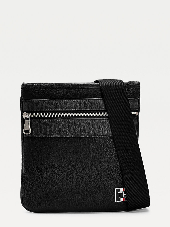 black small th monogram crossover bag for men tommy hilfiger