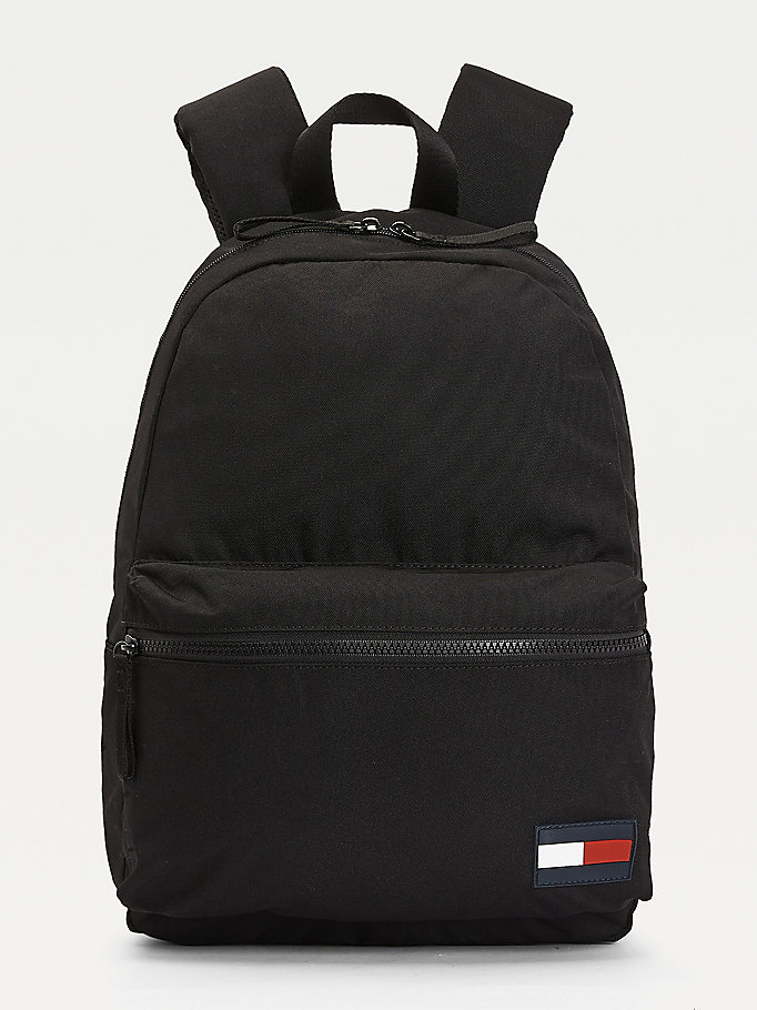 black recycled polyester flag patch backpack for men tommy hilfiger